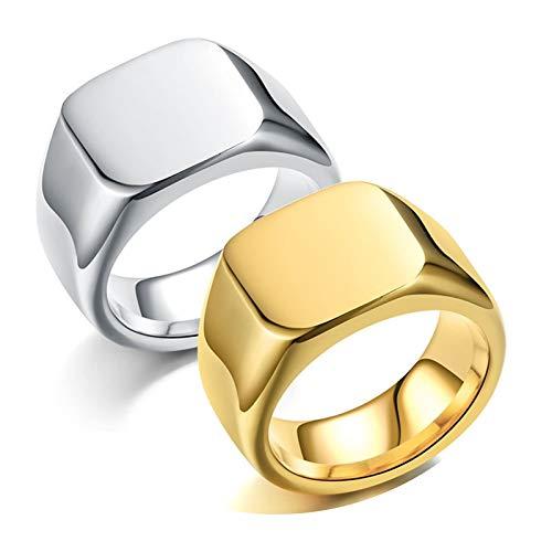 Epinki 2 Stücke Paare Ringe aus Edelstahl Quadrat Siegelring Herrenringe & Damenringe Trauringe Eheringe Gold & Silber Damen Gr.62 (19.7) & Herren Gr.62 (19.7)