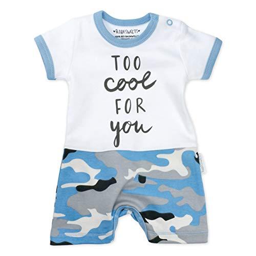 Baby Sweets Jungen Shorty blau weiß grau | Motiv: Too Cool For You | Baby Spieler mit Camouflage Print für Neugeborene & Kleinkinder | Größe: 3-6 Monate (68)