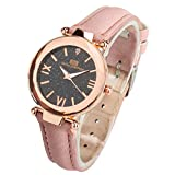 Yivise Mujeres Niñas Creativo Starry Sky Dial Reloj Cinturón de Cuero Moda Reloj de Pulsera de Cuarzo analógico(E)