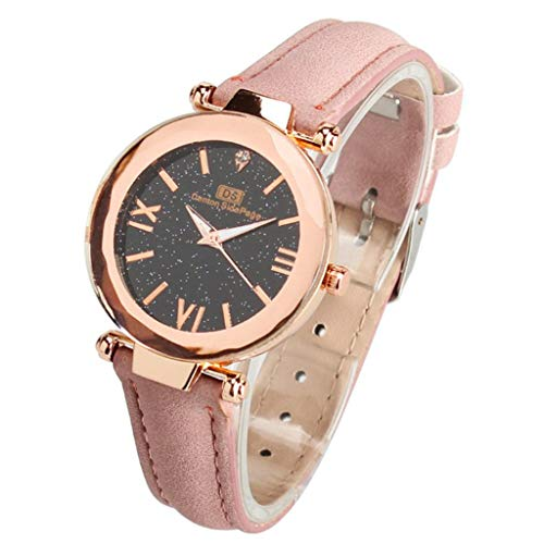 Uhr Armbanduhren Männer Damenuhren Hanseestar Himmel Einfach Mode Trenduhr Armbanduhr Mit Leder Armband Für Mädchen Schüler Uhren Wrist Watches(Rosa)