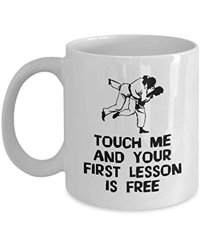 - mugs For Jiu Jitsu Lovers:'Touch Me And Your First Lesson Is Free' Unique Funny Brazilian Japanese BJJ Martial Art Ju Jutsu Jujutsu Jujitsu, MMA, 11oz, White Mug, Ceramic Coffee Cup