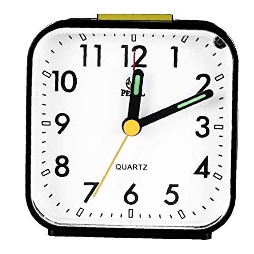 Reloj Despertador Negro del Análogo De Cuarzo Silencioso Reloj De Escritorio Despertador Práctica hasta Relojes