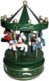 Juguete Decorativo Infantil de Madera TIOVIVO Musical Verde con Caballos Carruseles y Circuitos de Cuerda. Juguetes y Juegos de Colección. Regalos Originales para Navidad y Reyes.