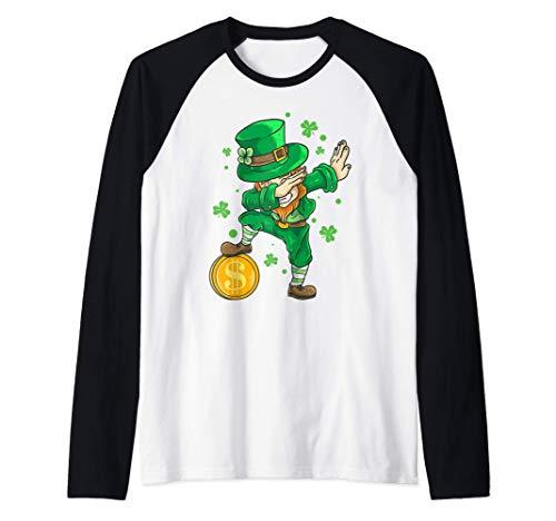 Disfraz de Irlanda Dabbing Duende Da de San Patricio Camiseta Manga Raglan