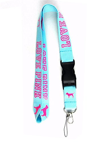 LOVE PINK Lanyard Blue & Pink Neck Strap Keychain ID Holder Keyring for Keys Phones Bags from SprayWayCustoms Store