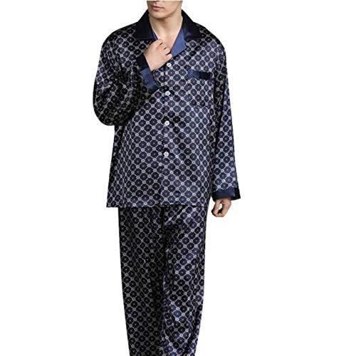 SGJKG Herren Frühling Langarm Revers Dünne Lose Pyjama Für Gedruckte Briefe Nachtwäsche Homewear Anzug -3XL