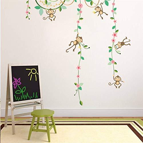 QTYUE Grappige Apen Hoogte Meet Muur Stickers voor Kinderen Kamers Vlinder Tuin Hek Bloem Hoogte Grafiek Kwekerij Kamer Decor Poster