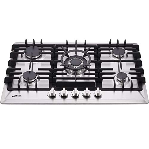 30 Inch Gas Cooktop 5 Burners Gas Stove Gas Hob Stovetop Stainless Steel Cooktop Cast Iron Grates Built-in Gas Stove Top LW5S01 LPG/NG Gas Cooktop Thermocouple Protection
