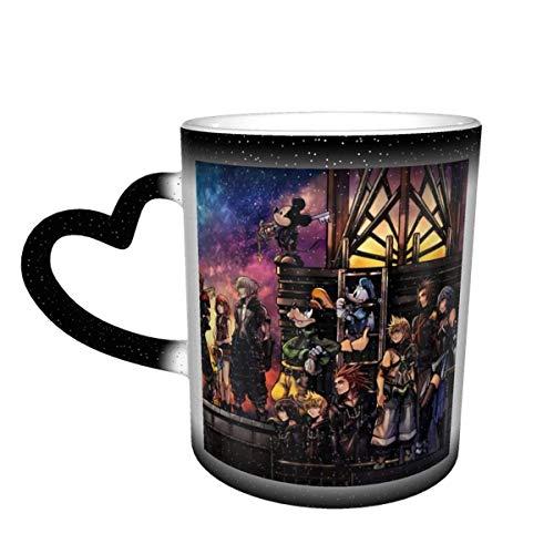 Kingdom Hearts Taza de color sensible al calor que cambia de color Taza que cambia en el cielo Tazas de café mágicas con arte divertido Taza de cerámica - ¡Imagen que se revela cuando se agrega líquid