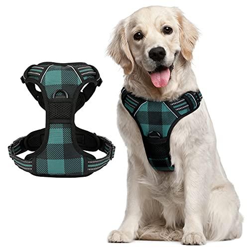 Arnés para perro de rabbitgoo, ajustable, con 2 clips de correa, cómodo acolchado para perro, arnés con asa fácil, arnés frontal reflectante para razas grandes, cuadros verdes, L