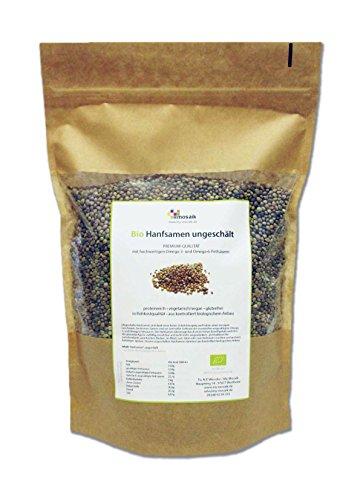 my-mosaik Bio Hanfsamen ungeschält (1000g), nährstoffreich und vegan, Low Carb, essentielle ungesättigte Omega-3- und Omega-6-Fettsäuren