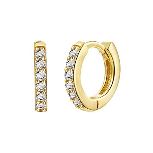 Earrings Women Studs 925 Sterling Silver Black Green Crystal Zircon Hoop Earrings Women Gold Silver Earrings-Gold_White