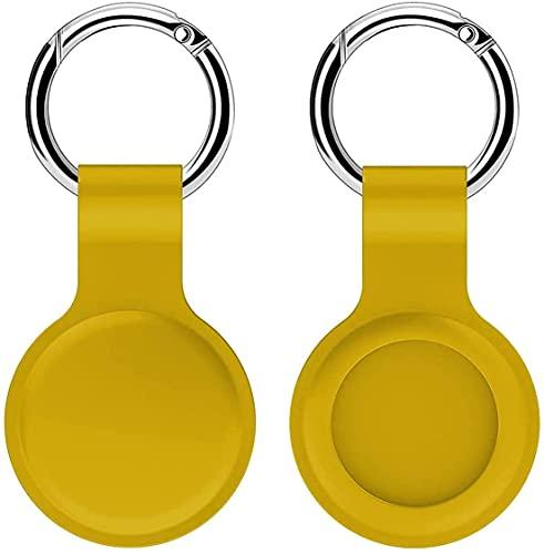 Funda protectora compatible con Airtags, paquete de 2 fundas protectoras de silicona suave con llavero, funda portátil para el buscador de llaves