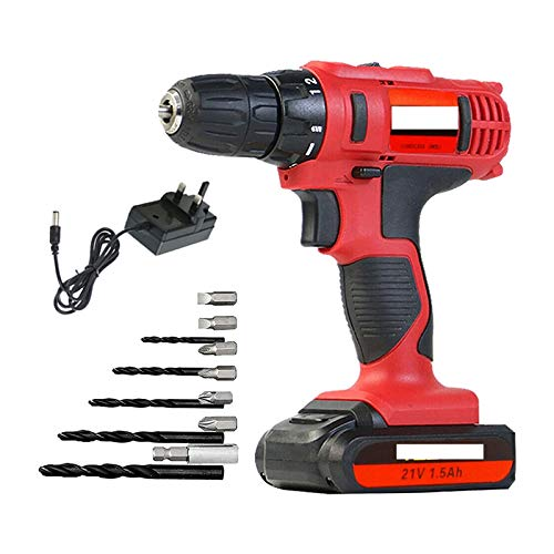 Bluetooth earphone Lithium Ion Cordless Drill, 21V Electric Cordless Driver 12PCS 45N.m Power Tool, Fast Charger, 18 + 1 Torque Setting Drill 2.4Ah Batteries for Concrete wall Women Cars