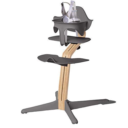 Nomi High Chair, Gray - White Oak Wood, Modern Scandinavian Design with a Strong Wooden Stem, Baby Through Teenager & Beyond with Seamless Adjustability, Award Winning Highchair (18-2101081)