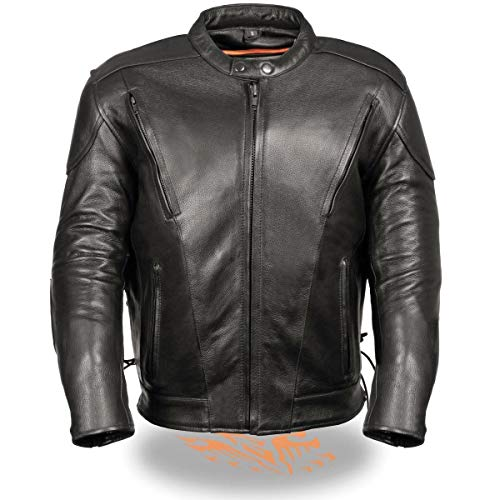 Milwaukee Leather ML1010 Men's Side Lace Vented Black Leather Scooter Jacket - Black/Large - LG