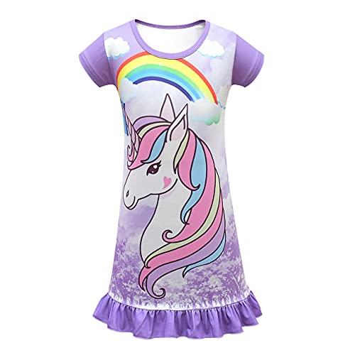 Nachthemd für Mädchen, Prinzessinnen-Einhorn-Pyjama, Nachthemd, kurzärmelig, Sommer, süßes Sonnenkleid, Party-Geschenk, 3–8 Jahre Gr. 6 Jahre, violett