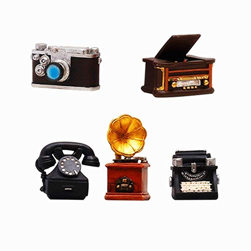 Ornaments,Collectible Figurines,Antique Mini home appliance decoration Telephone /Typewriter/Camera/Phonograph/Sound player Retro Decorating Cafe Bar,for Any Room,Décor Accents or kid's Toys 5 Pack