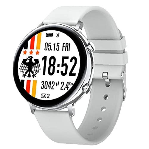 nJiaMe Llamadas Inteligente Aptitud del Reloj del perseguidor Impermeable de la Venda Inteligente GW33 Bluetooth Pulsera Deportes SmartWatch Hombres Mujeres Blanco