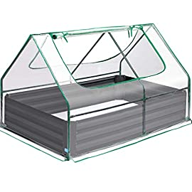Quictent 49''x37''x36'' Extra-Thick Galvanized Steel Raised Garden Bed Planter Kit Box with Greenhouse 2 Large Zipper… 10 √【Dual Use Raised Bed】Use the raised garden bed and greenhouse together to keep plants warm and growing in winter and spring. Or move the greenhouse to keep other small plants to grow, do as your need. Give you more freedom to use these two parts. √【Extra-thick Reinforced Galvanized Steel】--- 0.5mm thickness galvanized side, 1.0mm galvanized sheet for corner, 11.8inch in height, perfect size with extra-thick steel, stable for using at least 5 years. √【Eco-friendly Galvanized Paint】--- Use eco-friendly galvanized paint, efficiently prevent rust; And with the advanced dark grey, the most popular color, give your garden more beauty. Also never worry about that pest and rain damage the wood garden bed; galvanized steel garden bed provides lasting use and no discoloration.