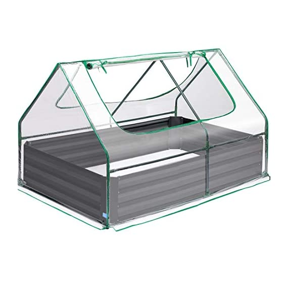 Quictent 49''x37''x36'' Extra-Thick Galvanized Steel Raised Garden Bed Planter Kit Box with Greenhouse 2 Large Zipper… 1 √【Dual Use Raised Bed】Use the raised garden bed and greenhouse together to keep plants warm and growing in winter and spring. Or move the greenhouse to keep other small plants to grow, do as your need. Give you more freedom to use these two parts. √【Extra-thick Reinforced Galvanized Steel】--- 0.5mm thickness galvanized side, 1.0mm galvanized sheet for corner, 11.8inch in height, perfect size with extra-thick steel, stable for using at least 5 years. √【Eco-friendly Galvanized Paint】--- Use eco-friendly galvanized paint, efficiently prevent rust; And with the advanced dark grey, the most popular color, give your garden more beauty. Also never worry about that pest and rain damage the wood garden bed; galvanized steel garden bed provides lasting use and no discoloration.
