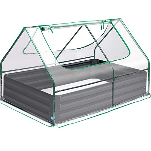 Quictent 49''x37''x36'' Extra-Thick Galvanized Steel Raised Garden Bed Planter Kit Box with Greenhouse 2 Large Zipper Windows Dual Use, 20pcs T-Types Tags & 1 Pair of Gloves Included (Clear)