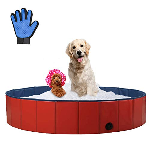 SURPCOS Foldable Dog Swimming Pool, New Upgraded Collapsible Pet Bath Pool for Dogs Cats and Children Indoor & Outdoor, Medium 47''x12''