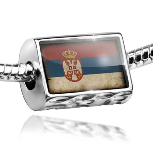 NEONBLOND Charm Serbian Flag with a Vintage Look - Bead Fit All European Bracelets, Neon
