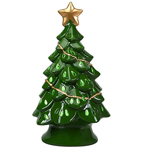 Goplus Pre-Lit Hand-Painted Ceramic Christmas Tree, Tabletop Xmas Decor with LED Lights and Top Star, Forever Lighted Holiday Centerpiece (Green, 11.5 inches)