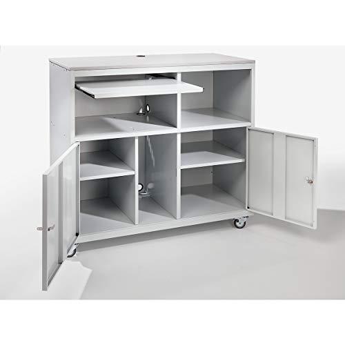 Computerschrank | Fahrbar | HxBxT 1184 x 1180 x 590 mm | Lichtgrau | QUIPO - Computerschränke computer cabinets