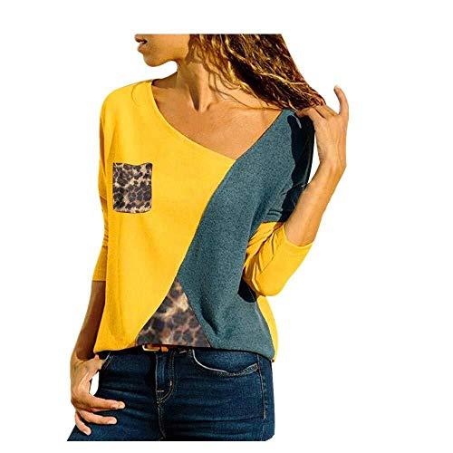 XGBDTJ Blusa De Hombro Frío De Moda Mujer para Jersey con Estilo único con Estampado Floral Geométrico Señoras Tops Superiores Moda 2020 Ropa De Mujer (Color : A-A-Gelb, One Size : L)