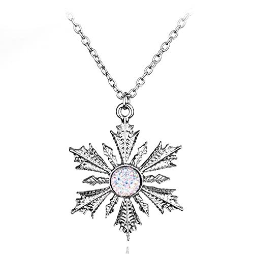 N/A Collar Moda Dulce Color Plata Fina Collar Copo de Nieve Cristal circón clavícula Cadena Mujer Collares joyería