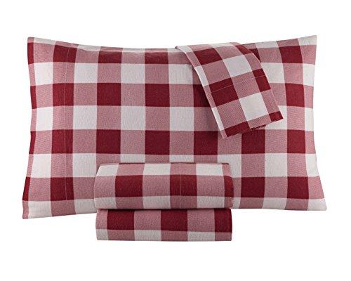 DELANNA Flannel Sheet Set 100% Cotton (Twin, Buffalo Red)