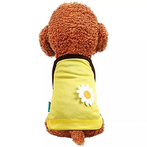 MDKAZ Primavera Verano Linda Ropa para Mascotas sin Mangas Perro Camisola Daisy Gato Camisetas sin Mangas Chaleco Transpirable para Perros pequeños Chihuahua Yorks-L