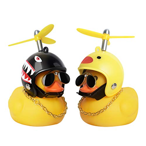 PiAEK Gummiente Spielzeug, Ente Auto Armaturenbrett Dekorationen, Gummi Ente Auto Ornamente, Coole Ente mit Propeller/Helm/Sonnenbrille/Goldkette(D)