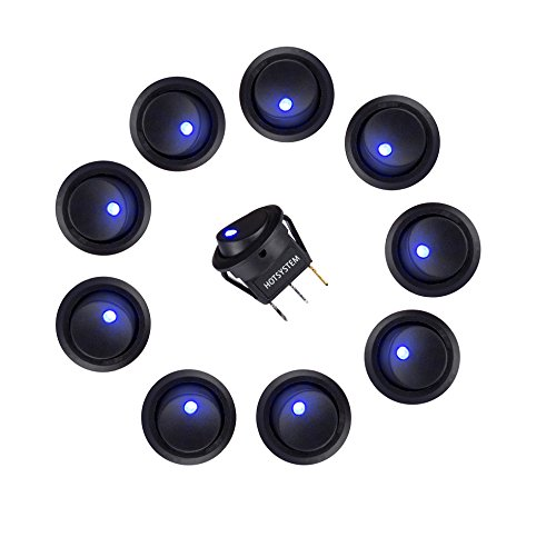 HOTSYSTEM 10 x 12V 20A interruptor para coches barco con LED indicador Luz, ON-OFF Switch azul