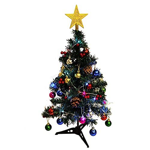 Árbol de Navidad artificial, 17.7 mesa mini árbol de Navidad, árbol de Navidad de pino en miniatura, funciona con pilas, árbol de Navidad artificial con cadena de luz, bolas, bayas, para decoración