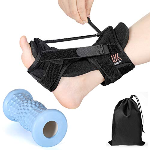 Upgraded 3-Straps Plantar Fasciitis Splints Night & Foot Massage Roller Set, Adjustable Foot Brace Drop Orthotic for Relieving Morning Pain Heel Arch Foot Pain