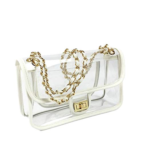 """Closure Type: No zipper,Flap. Size:11"""" Wide x 6.3"""" Height x 3.5"""" Depth - 52 Inch Chain Strap. Main Material: Clear PVC Bag Body, Synthetic Leather Trim and Gold Tone Chain Strap and Lock. Occasion: Enough space for your storage,Versatile for your dai..."""