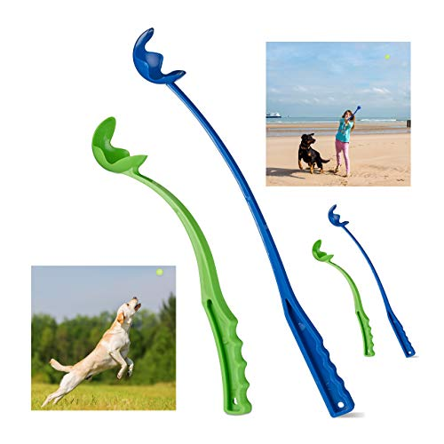 Relaxdays 4 x Ballschleuder für Hunde, Ballwerfer, Ballwurfarm, Wurfschleuder für Tennisbälle, Wurfarm, Hundespielzeug, blau/grün