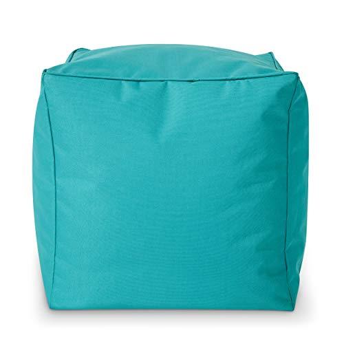 Green Bean Outdoor © Square Dice Sitzsack-Hocker - 40x40x40 cm - Indoor & Outdoor - schmutzabweisend, waschbar - Fußablage, Fußkissen, Sitzpouf - für Kinder & Erwachsene - Türkis