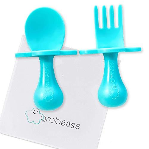 Grabease Baby-Besteck-Set, selbstfütterend, Blaugrün