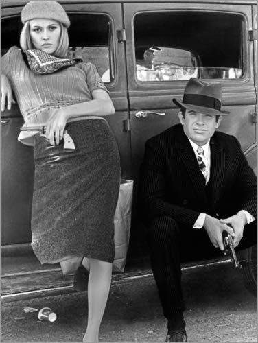 Posterlounge Acrylglasbild 60 x 80 cm: Bonnie und Clyde, schwarz-weiß von Everett Collection - Wandbild, Acryl Glasbild, Druck auf Acryl Glas Bild