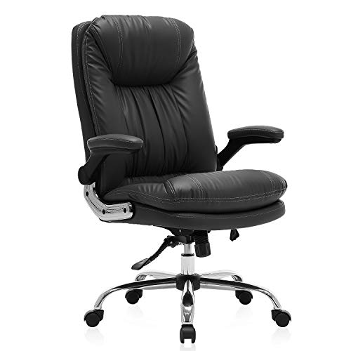 KERMS High Back Executive Home Office Desk Chair, Big and Tall Ergonomic Leather Adjustable Computer Chair with Flip up Arms and Lumbar Support (Black)