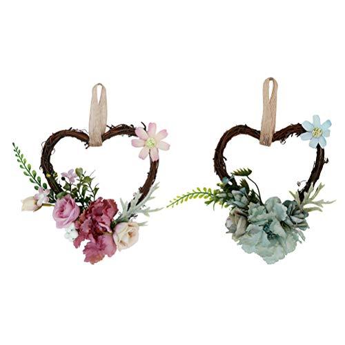 VOSAREA 2 Piezas de ratán en Forma de corazón Arte Pared de la Flor Artificial de la Guirnalda Ornamento de la simulación de la Puerta Colgante de la Flor de la Boda Decoración de Coches