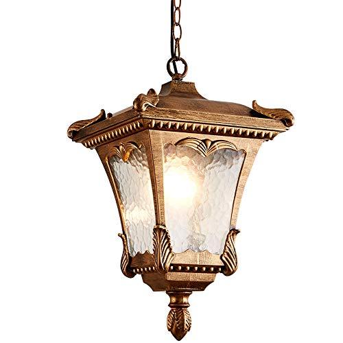 Hines Lámpara Colgante Antigua E27 Lámpara De Techo De Vidrio De Aluminio Cadena Colgante Lámpara Colgante Vintage Ajustable Impermeable Luz De Suspensión Al Aire Libre Villa Luces De Jardín