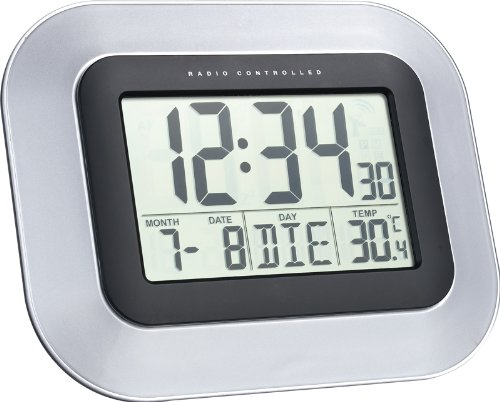 TechnoTrade WS 8005 Radio Controlled Wall Clock Reloj Digital, Negro/Plata, 22.6x3x18 cm