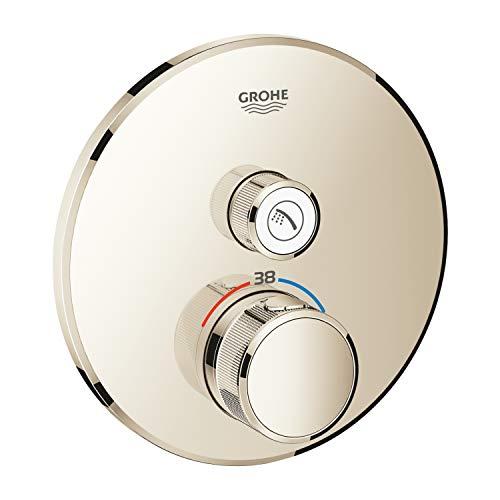 Grohe 29118BE0 Thermostat Grohtherm SmartControl avec valve de fermeture, rosace murale ronde, couleur : nickel poli