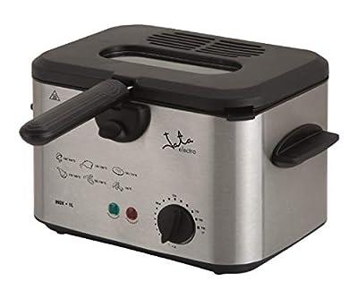 Jata FR226 Friteuse avec capacité de 1 l en acier inoxydable Panier de grande capacité avec poignée thermostat réglable de température Couvercle amovible avec filtre et visière sans BPA et PFOA