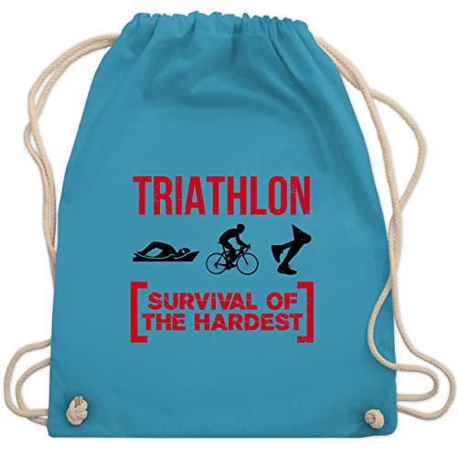 Sonstige Sportarten - Triathlon - Survival of the hardest - Unisize - Hellblau - WM110 - Turnbeutel und Stoffbeutel aus Bio-Baumwolle